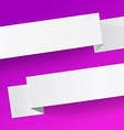 two white diagonal sheets paper on a magenta vector image