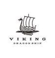 vintage hipster viking ship logo design vector image