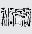 weapon gun pistol and sword silhouette vector image vector image