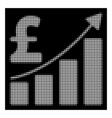white halftone pound sales growth chart icon vector image