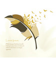 writing multicolored feather with flying birds vector image vector image