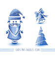 Merry Christmas blue sketch style elements set vector image