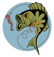 Cartoon perch and a worm vector image