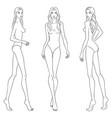 beautiful slim women sketch vector image