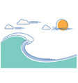 big ocean wave flat line color vector image vector image