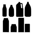 black silhouette milk containers collection vector image vector image