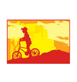 Boy bike silhouette vector image vector image