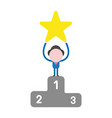 businessman character holding up star on first vector image