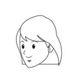 cartoon face young girl student vector image vector image