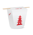 Chinese restaurant closed take out box with chopst vector image vector image