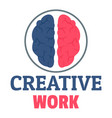 creative brain work logo flat style vector image vector image