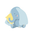 cute baby elephant animal sleeping on pillow vector image