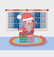 cute christmas santa claus with gifts in the house vector image