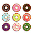 different donuts in cartoon style vector image vector image