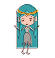elf princess fantastic characters in watercolor vector image