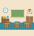 empty classroom interior with blackboard vector image vector image