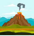 eruption of volcano background flat style vector image vector image