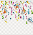 festive background with serpentine and paper vector image