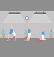 fit women practicing yoga vector image