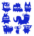 funny blue flat monsters vector image vector image