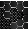 geometric pattern of hexagons with black metal vector image vector image