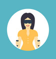 girl in virtual reality glasses flat style vector image