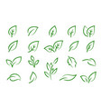 green leaves branches icons eco set silhouettes vector image vector image