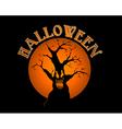 Halloween text spooky tree over orange moon EPS10 vector image