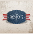 Happy Presidents Day retro blue Banner with Ribbon vector image