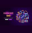 karaoke bar neon banner design vector image