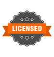 licensed isolated seal orange label vector image vector image