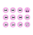 lingerie flat line icons set bra fitting breast vector image vector image