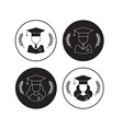 Men and Women Graduates with Hat and Wreath vector image vector image
