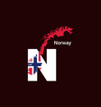 norway initial letter country with map and flag vector image