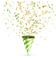 party shiny hat with ribbon and confetti holiday vector image vector image