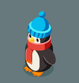 penguin isometric christmas character winter new vector image
