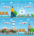 people with luggage bags at the airport vector image vector image