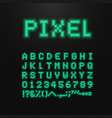 pixel font letters numbers and signs vector image