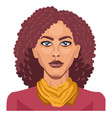 pretty girl with curly red hair on white vector image vector image