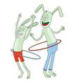 rabbits playing hula hoop vector image vector image