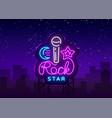 rock star neon sign rock star logo vector image