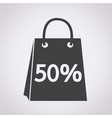 sale 50 percents shopping bag icon vector image