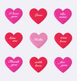 set of 3d valentines hearts vector image