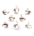 Set of steaming cups of hot beverages vector image vector image