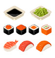 set sushi roll isolated on dark background vector image vector image