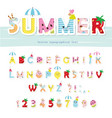 summer font creative cartoon letters and numbers vector image vector image
