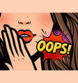 surprised woman oops in pop vector image vector image