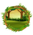 the forest in wood circle vector image