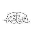 theater masks line icon vector image vector image
