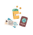 tourist s items passport wallet with cash vector image vector image